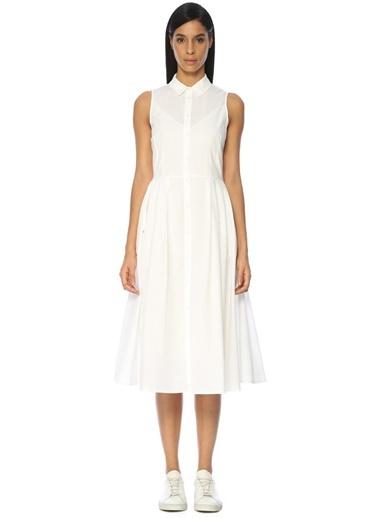 Beymen Club Pileli Gömlek Elbise Beyaz